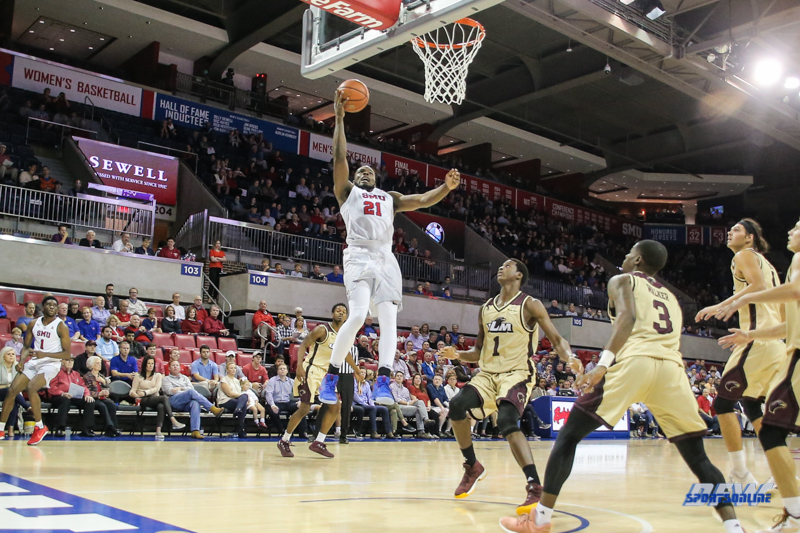 DALLAS, TX - NOVEMBER 12: Southern Methodist Mustangs guard Ben Emelogu II (21) goes to the basket during the men's basketball game between SMU and ULM on November 12, 2017, at Moody Coliseum, in Dallas, TX. (Photo by George Walker/DFWsportsonline)