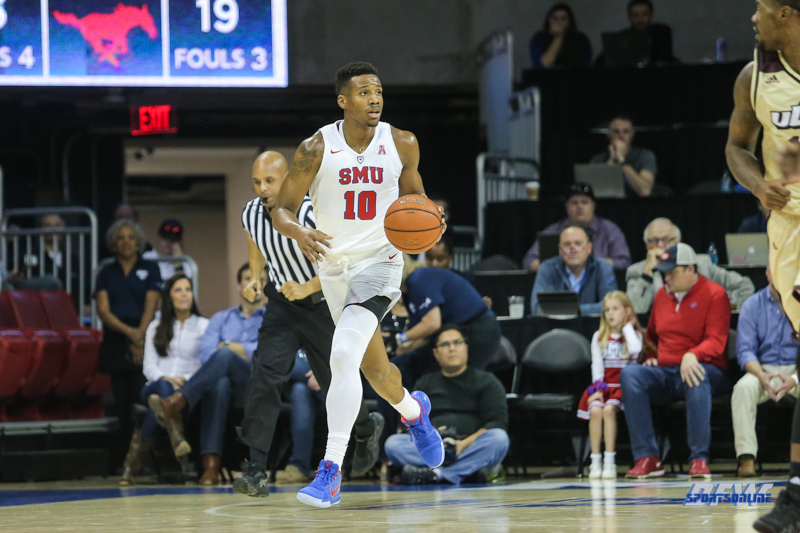 DALLAS, TX - NOVEMBER 12: Southern Methodist Mustangs guard Jarrey Foster (10) brings the ball up court during the game between SMU and ULM on November 12, 2017 at Moody Coliseum in Dallas, TX. (Photo by George Walker/Icon Sportswire)
