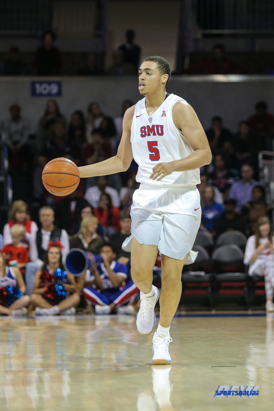 DALLAS, TX - NOVEMBER 12: Southern Methodist Mustangs forward Ethan Chargois (5) brings the ball up court during the game between SMU and ULM on November 12, 2017 at Moody Coliseum in Dallas, TX. (Photo by George Walker/Icon Sportswire)