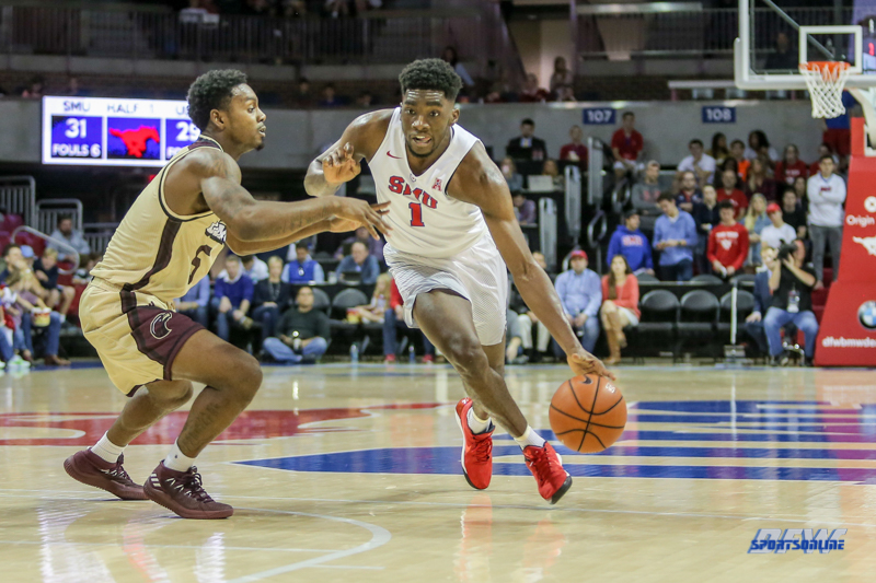 DALLAS, TX - NOVEMBER 12: Southern Methodist Mustangs guard Shake Milton (1) drives to the basket during the game between SMU and ULM on November 12, 2017 at Moody Coliseum in Dallas, TX. (Photo by George Walker/Icon Sportswire)