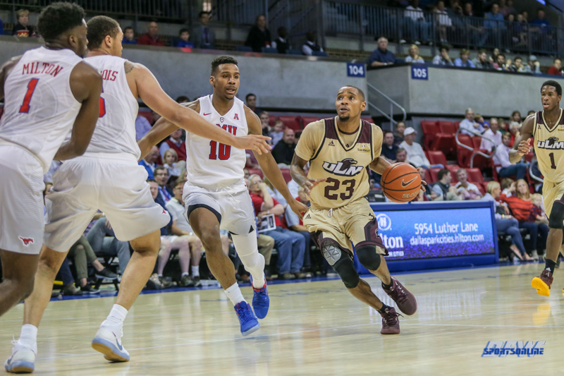 DALLAS, TX - NOVEMBER 12: Louisiana Monroe Warhawks guard Jordon Harris (23) drives to the basket during the game between SMU and ULM on November 12, 2017 at Moody Coliseum in Dallas, TX. (Photo by George Walker/Icon Sportswire)