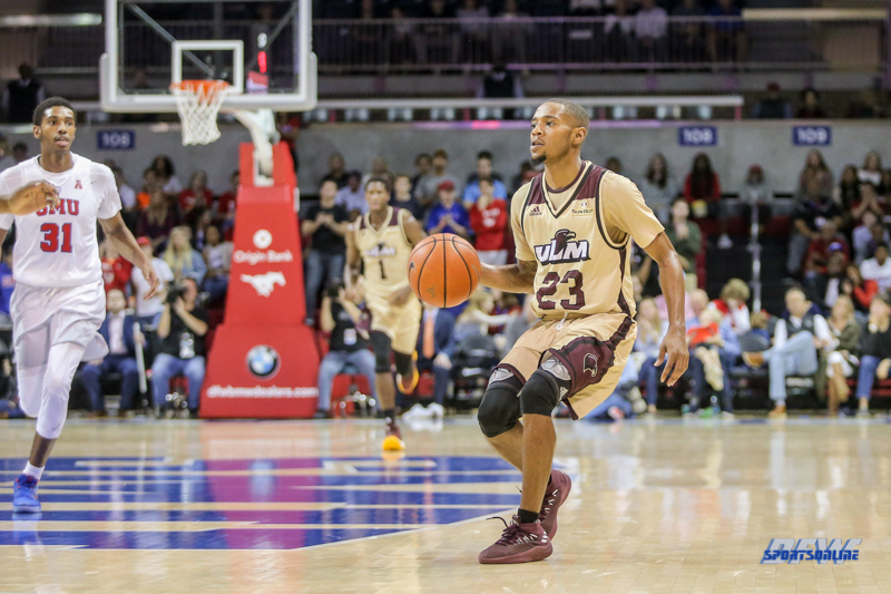 DALLAS, TX - NOVEMBER 12: Louisiana Monroe Warhawks guard Jordon Harris (23) sets for a shot during the game between SMU and ULM on November 12, 2017 at Moody Coliseum in Dallas, TX. (Photo by George Walker/Icon Sportswire)