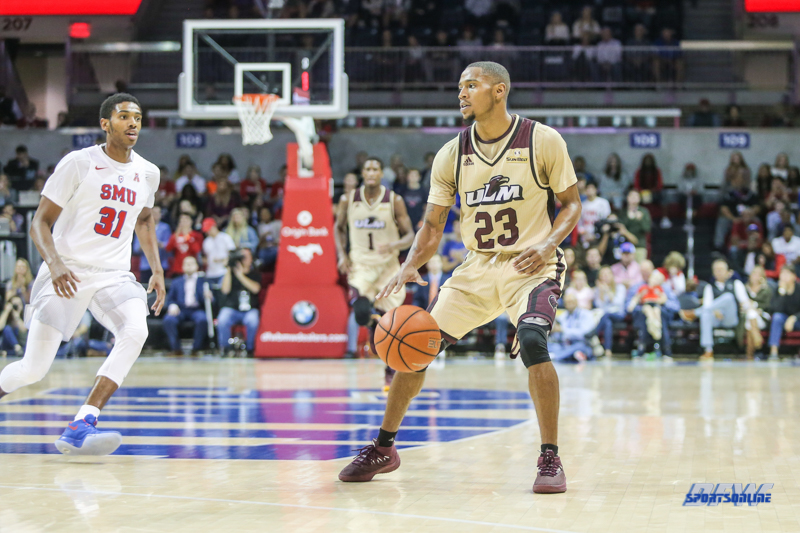 DALLAS, TX - NOVEMBER 12: Louisiana Monroe Warhawks guard Jordon Harris (23) dribbles during the game between SMU and ULM on November 12, 2017 at Moody Coliseum in Dallas, TX. (Photo by George Walker/Icon Sportswire)