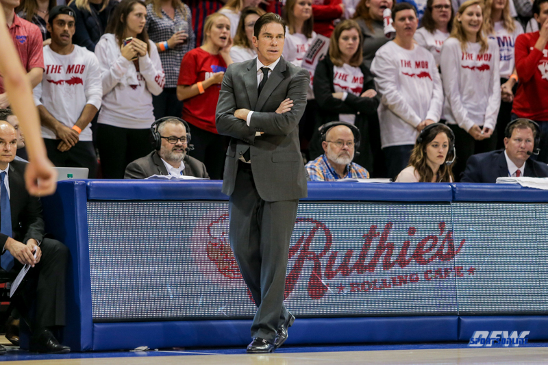 DALLAS, TX - NOVEMBER 12: Southern Methodist Mustangs head coach Tim Jankovich looks on during the game between SMU and ULM on November 12, 2017 at Moody Coliseum in Dallas, TX. (Photo by George Walker/Icon Sportswire)