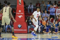 DALLAS, TX - NOVEMBER 12: Southern Methodist Mustangs guard Jimmy Whitt (31) brings the ball up court during the game between SMU and ULM on November 12, 2017 at Moody Coliseum in Dallas, TX. (Photo by George Walker/Icon Sportswire)