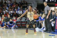 DALLAS, TX - NOVEMBER 12: Louisiana Monroe Warhawks forward Travis Munnings (1) looks to pass the ball during the game between SMU and ULM on November 12, 2017 at Moody Coliseum in Dallas, TX. (Photo by George Walker/Icon Sportswire)