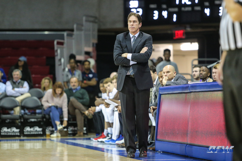 UNIVERSITY PARK, TX - NOVEMBER 28: Southern Methodist Mustangs head coach Tim Jankovich looks on during the game between SMU and UT Rio Grande Valley on November 28, 2017 at Moody Coliseum in Dallas, TX. (Photo by George Walker/Icon Sportswire)