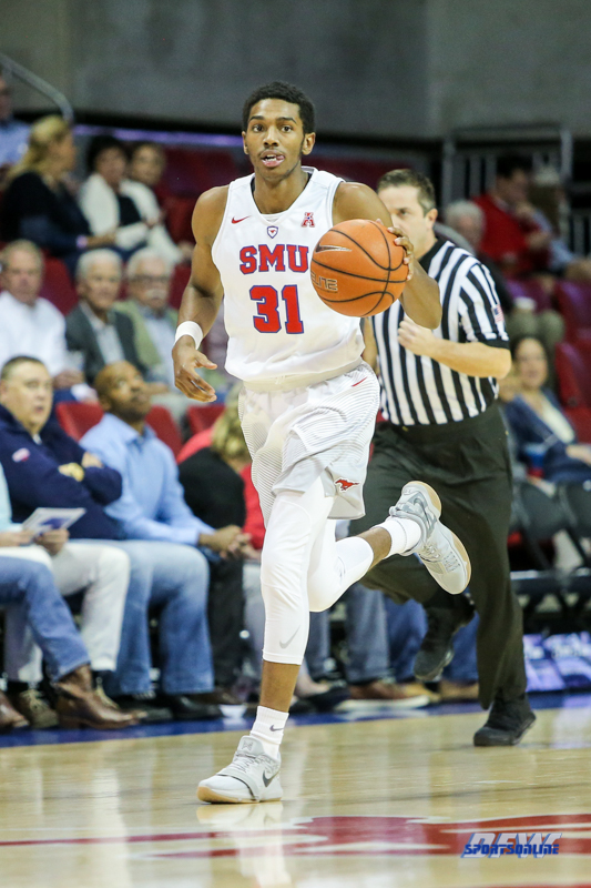 UNIVERSITY PARK, TX - NOVEMBER 28: Southern Methodist Mustangs guard Jimmy Whitt (31) brings the ball up court during the game between SMU and UT Rio Grande Valley on November 28, 2017 at Moody Coliseum in Dallas, TX. (Photo by George Walker/Icon Sportswire)