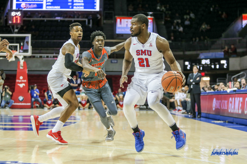UNIVERSITY PARK, TX - NOVEMBER 28: Southern Methodist Mustangs guard Ben Emelogu II (21) dribbles during the game between SMU and UT Rio Grande Valley on November 28, 2017 at Moody Coliseum in Dallas, TX. (Photo by George Walker/Icon Sportswire)