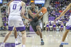 FORT WORTH, TX - DECEMBER 05: Southern Methodist Mustangs guard Shake Milton (1) drives to the basket during the game between SMU and TCU on December 5, 2017 at the Ed and Rae Schollmaier Arena in Fort Worth, TX. (Photo by George Walker/DFWsportsonline