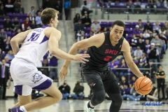 FORT WORTH, TX - DECEMBER 05: Southern Methodist Mustangs forward Ethan Chargois (5) drives to the basket during the game between SMU and TCU on December 5, 2017 at the Ed and Rae Schollmaier Arena in Fort Worth, TX. (Photo by George Walker/DFWsportsonline