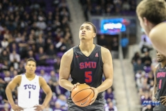 FORT WORTH, TX - DECEMBER 05: Southern Methodist Mustangs forward Ethan Chargois (5) shoots a free throw during the game between SMU and TCU on December 5, 2017 at the Ed and Rae Schollmaier Arena in Fort Worth, TX. (Photo by George Walker/DFWsportsonline