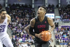 FORT WORTH, TX - DECEMBER 05: Southern Methodist Mustangs guard Jarrey Foster (10) goes to the basket during the game between SMU and TCU on December 5, 2017 at the Ed and Rae Schollmaier Arena in Fort Worth, TX. (Photo by George Walker/DFWsportsonline