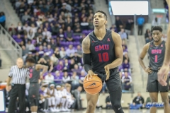 FORT WORTH, TX - DECEMBER 05: Southern Methodist Mustangs guard Jarrey Foster (10) shoots a free throw during the game between SMU and TCU on December 5, 2017 at the Ed and Rae Schollmaier Arena in Fort Worth, TX. (Photo by George Walker/DFWsportsonline