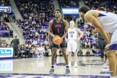 FORT WORTH, TX - DECEMBER 05: Southern Methodist Mustangs guard Shake Milton (1) shoots a free throw during the game between SMU and TCU on December 5, 2017 at the Ed and Rae Schollmaier Arena in Fort Worth, TX. (Photo by George Walker/DFWsportsonline
