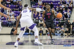 FORT WORTH, TX - DECEMBER 05: Southern Methodist Mustangs guard Shake Milton (1) brings the ball up court during the game between SMU and TCU on December 5, 2017 at the Ed and Rae Schollmaier Arena in Fort Worth, TX. (Photo by George Walker/DFWsportsonline