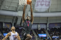 FORT WORTH, TX - DECEMBER 05: Southern Methodist Mustangs guard Shake Milton (1) goes to the basket during the game between SMU and TCU on December 5, 2017 at the Ed and Rae Schollmaier Arena in Fort Worth, TX. (Photo by George Walker/DFWsportsonline