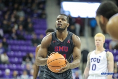 FORT WORTH, TX - DECEMBER 05: Southern Methodist Mustangs guard Ben Emelogu II (21) shoots a free throw during the game between SMU and TCU on December 5, 2017 at the Ed and Rae Schollmaier Arena in Fort Worth, TX. (Photo by George Walker/DFWsportsonline