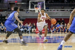 DALLAS, TX - DECEMBER 13: Southern Methodist Mustangs guard Jimmy Whitt (31) drives to the basket during the men's basketball game between SMU and New Orleans on December 13, 2017, at Moody Coliseum, in Dallas, TX. (Photo by George Walker/DFWsportsonline)