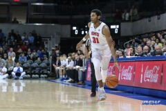 UNIVERSITY PARK, TX - DECEMBER 18: Southern Methodist Mustangs guard Jimmy Whitt (31) brings the ball up court during the game between SMU and Boise State on December 18, 2017, at Moody Coliseum in Dallas, TX. (Photo by George Walker/DFWsportsonline)