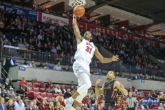 UNIVERSITY PARK, TX - DECEMBER 18: Southern Methodist Mustangs guard Jimmy Whitt (31) goes to the basket during the game between SMU and Boise State on December 18, 2017, at Moody Coliseum in Dallas, TX. (Photo by George Walker/DFWsportsonline)