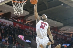 UNIVERSITY PARK, TX - DECEMBER 18: Southern Methodist Mustangs guard Ben Emelogu II (21) dunks during the game between SMU and Boise State on December 18, 2017, at Moody Coliseum in Dallas, TX. (Photo by George Walker/DFWsportsonline)
