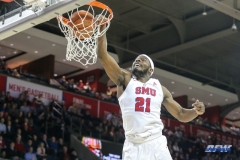 UNIVERSITY PARK, TX - DECEMBER 18: Southern Methodist Mustangs guard Ben Emelogu II (21) dunks the ball during the game between SMU and Boise State on December 18, 2017, at Moody Coliseum in Dallas, TX. (Photo by George Walker/Icon Sportswire)