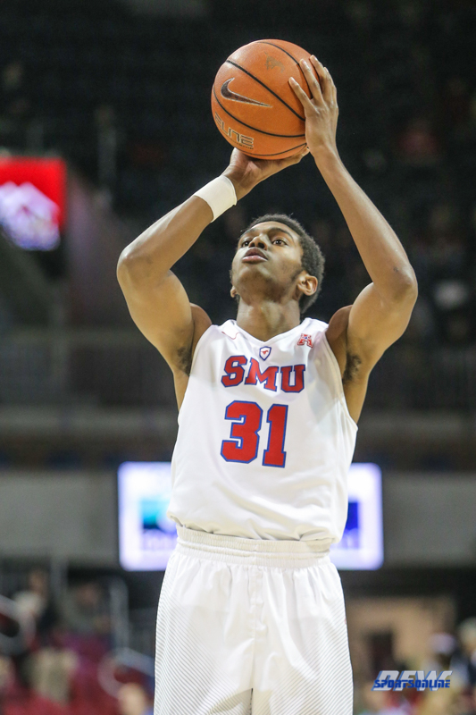 UNIVERSITY PARK, TX - DECEMBER 19: Southern Methodist Mustangs guard Jimmy Whitt (31) shoots a free throw during the game between SMU and Cal Poly State on December 19, 2017, at Moody Coliseum in Dallas, TX. (Photo by George Walker/DFWsportsonline)