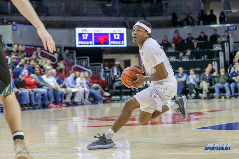 UNIVERSITY PARK, TX - DECEMBER 19: Southern Methodist Mustangs guard Jahmal McMurray (0) during the game between SMU and Cal Poly State on December 19, 2017, at Moody Coliseum in Dallas, TX. (Photo by George Walker/DFWsportsonline)