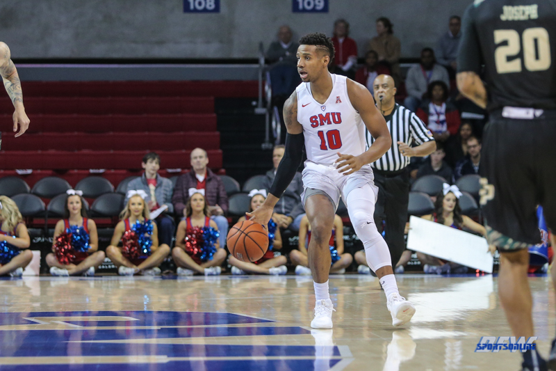 UNIVERSITY PARK, TX - DECEMBER 19: Southern Methodist Mustangs guard Jarrey Foster (10) brings the ball up court during the game between SMU and Cal Poly on December 19, 2017, at Moody Coliseum in Dallas, TX. (Photo by George Walker/Icon Sportswire)