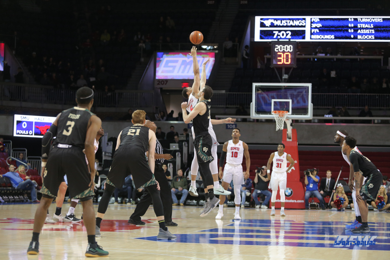 UNIVERSITY PARK, TX - DECEMBER 19: Tip-Off during the game between SMU and Cal Poly on December 19, 2017, at Moody Coliseum in Dallas, TX. (Photo by George Walker/Icon Sportswire)