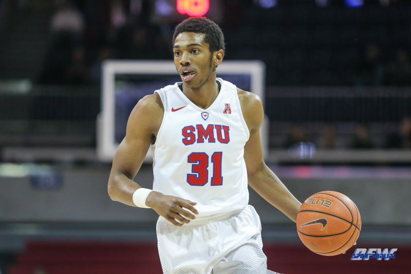UNIVERSITY PARK, TX - DECEMBER 19: Southern Methodist Mustangs guard Jimmy Whitt (31) dribbles during the game between SMU and Cal Poly on December 19, 2017, at Moody Coliseum in Dallas, TX. (Photo by George Walker/Icon Sportswire)