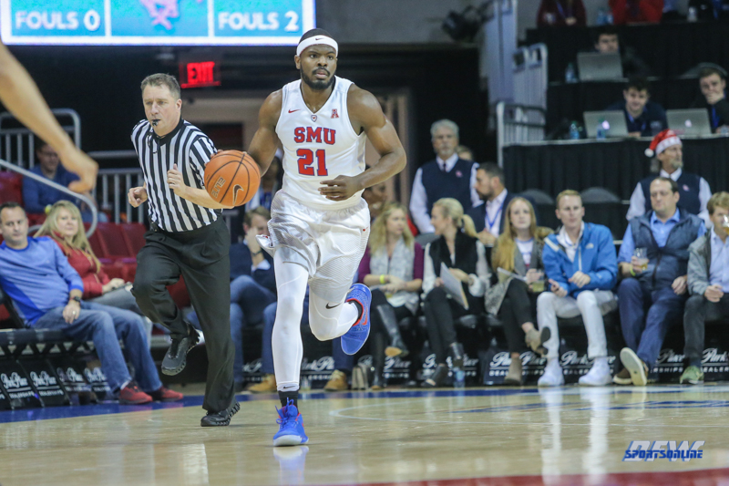 UNIVERSITY PARK, TX - DECEMBER 19: Southern Methodist Mustangs guard Ben Emelogu II (21) brings the ball up court during the game between SMU and Cal Poly on December 19, 2017, at Moody Coliseum in Dallas, TX. (Photo by George Walker/Icon Sportswire)