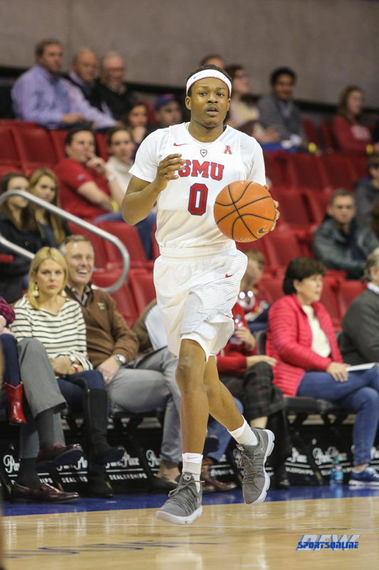 UNIVERSITY PARK, TX - DECEMBER 19: Southern Methodist Mustangs guard Jahmal McMurray (0) brings the ball up court during the game between SMU and Cal Poly on December 19, 2017, at Moody Coliseum in Dallas, TX. (Photo by George Walker/Icon Sportswire)