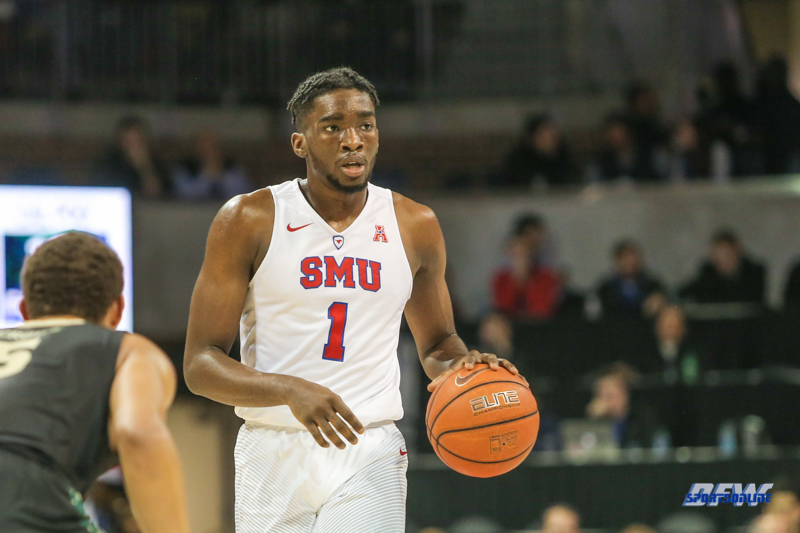 UNIVERSITY PARK, TX - DECEMBER 19: Southern Methodist Mustangs guard Shake Milton (1) dribbles during the game between SMU and Cal Poly on December 19, 2017, at Moody Coliseum in Dallas, TX. (Photo by George Walker/Icon Sportswire)