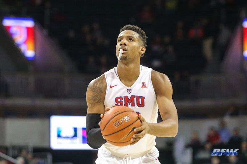UNIVERSITY PARK, TX - DECEMBER 19: Southern Methodist Mustangs guard Jarrey Foster (10) prepares to shoot a free throw during the game between SMU and Cal Poly on December 19, 2017, at Moody Coliseum in Dallas, TX. (Photo by George Walker/Icon Sportswire)