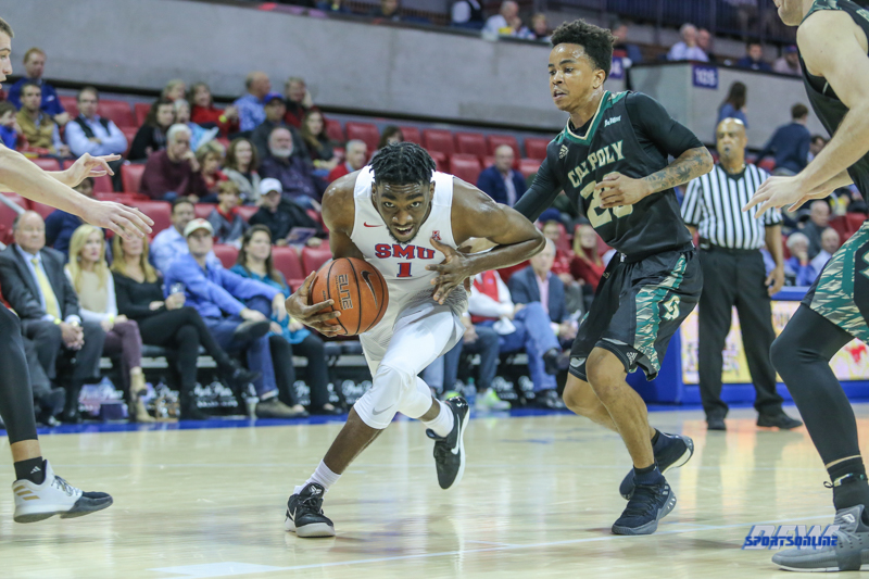UNIVERSITY PARK, TX - DECEMBER 19: Southern Methodist Mustangs guard Shake Milton (1) drives to the basket during the game between SMU and Cal Poly on December 19, 2017, at Moody Coliseum in Dallas, TX. (Photo by George Walker/Icon Sportswire)