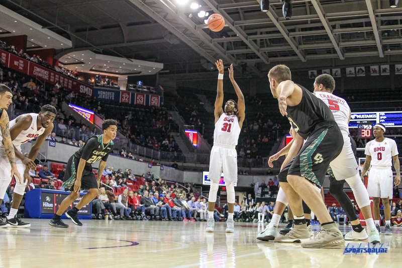 UNIVERSITY PARK, TX - DECEMBER 19: Southern Methodist Mustangs guard Jimmy Whitt (31) shoots a free throw during the game between SMU and Cal Poly on December 19, 2017, at Moody Coliseum in Dallas, TX. (Photo by George Walker/Icon Sportswire)