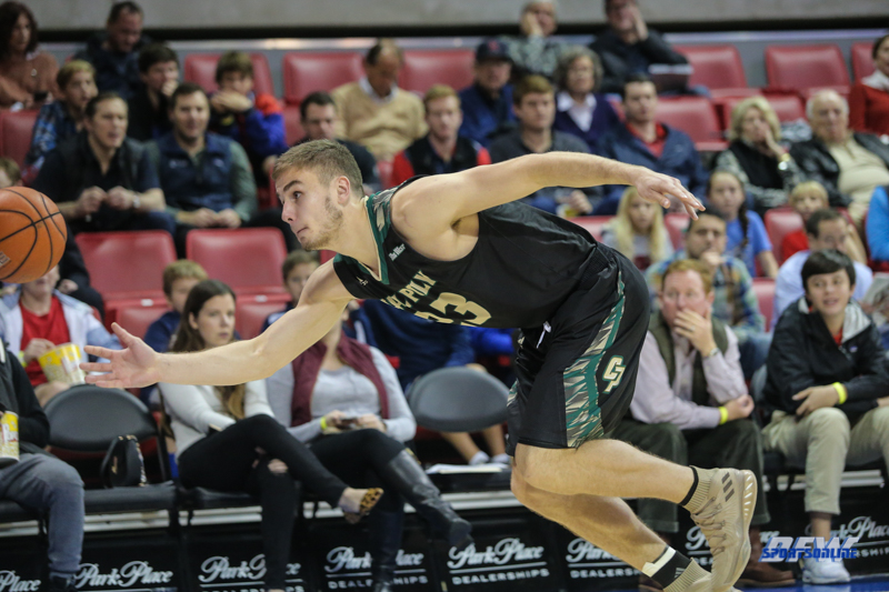 UNIVERSITY PARK, TX - DECEMBER 19: Cal Poly Mustangs forward Karlis Garoza (23) tries to get a ball before it goes out of bounds during the game between SMU and Cal Poly on December 19, 2017, at Moody Coliseum in Dallas, TX. (Photo by George Walker/Icon Sportswire)