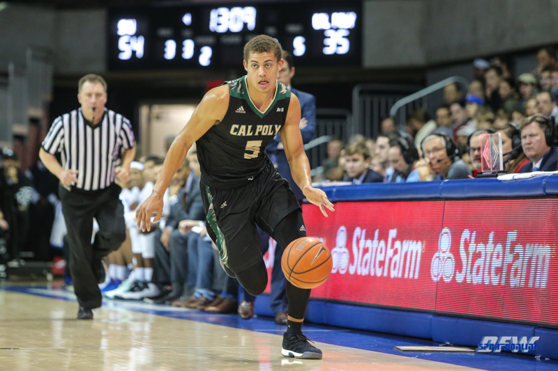 UNIVERSITY PARK, TX - DECEMBER 19: Cal Poly Mustangs forward Mark Crowe (5) brings the ball up court during the game between SMU and Cal Poly on December 19, 2017, at Moody Coliseum in Dallas, TX. (Photo by George Walker/Icon Sportswire)