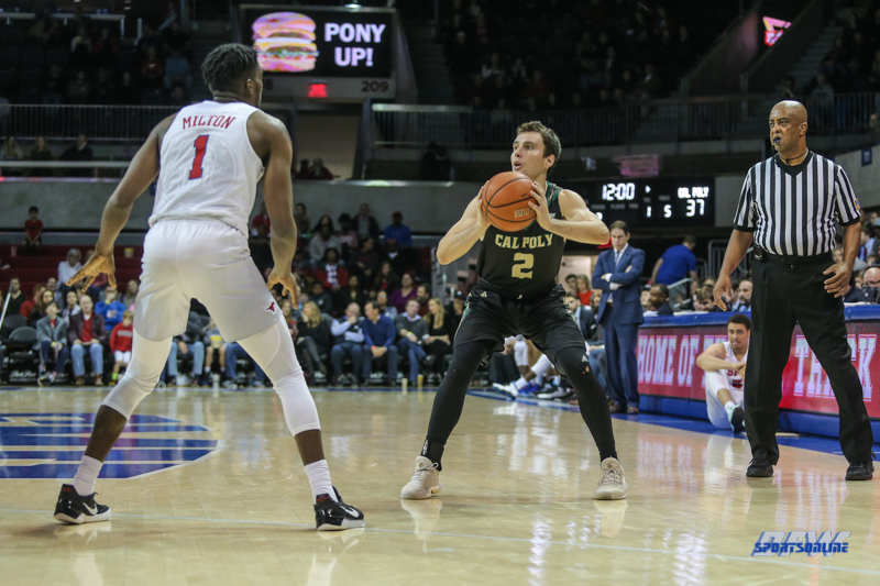 UNIVERSITY PARK, TX - DECEMBER 19: Cal Poly Mustangs guard Trevor John (2) looks to pass the ball during the game between SMU and Cal Poly on December 19, 2017, at Moody Coliseum in Dallas, TX. (Photo by George Walker/Icon Sportswire)