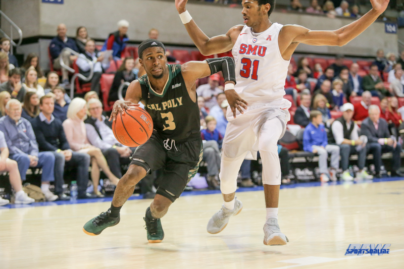UNIVERSITY PARK, TX - DECEMBER 19: Cal Poly Mustangs guard Donovan Fields (3) drives to the basket during the game between SMU and Cal Poly on December 19, 2017, at Moody Coliseum in Dallas, TX. (Photo by George Walker/Icon Sportswire)