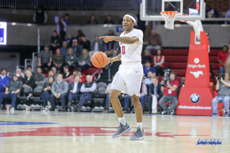 UNIVERSITY PARK, TX - DECEMBER 19: Southern Methodist Mustangs guard Jahmal McMurray (0) sets the play during the game between SMU and Cal Poly on December 19, 2017, at Moody Coliseum in Dallas, TX. (Photo by George Walker/Icon Sportswire)