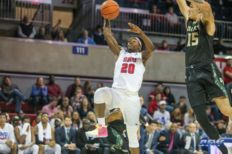 UNIVERSITY PARK, TX - DECEMBER 19: Southern Methodist Mustangs guard Elijah Landrum (20) goes to the basket during the game between SMU and Cal Poly on December 19, 2017, at Moody Coliseum in Dallas, TX. (Photo by George Walker/Icon Sportswire)