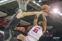 UNIVERSITY PARK, TX - DECEMBER 19: Southern Methodist Mustangs guard Jimmy Whitt (31) goes to the basket during the game between SMU and Cal Poly State on December 19, 2017, at Moody Coliseum in Dallas, TX. (Photo by George Walker/DFWsportsonline)
