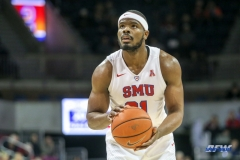 UNIVERSITY PARK, TX - DECEMBER 19: Southern Methodist Mustangs guard Ben Emelogu II (21) prepares to shoot a free throw during the game between SMU and Cal Poly State on December 19, 2017, at Moody Coliseum in Dallas, TX. (Photo by George Walker/DFWsportsonline)