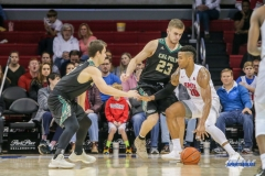 UNIVERSITY PARK, TX - DECEMBER 19: Southern Methodist Mustangs guard Jarrey Foster (10) dribbles during the game between SMU and Cal Poly State on December 19, 2017, at Moody Coliseum in Dallas, TX. (Photo by George Walker/DFWsportsonline)