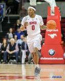 UNIVERSITY PARK, TX - DECEMBER 19: Southern Methodist Mustangs guard Jahmal McMurray (0) brings the ball up court during the game between SMU and Cal Poly State on December 19, 2017, at Moody Coliseum in Dallas, TX. (Photo by George Walker/DFWsportsonline)