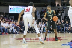 UNIVERSITY PARK, TX - DECEMBER 19: Cal Poly Mustangs guard Donovan Fields (3) sets the play during the game between SMU and Cal Poly on December 19, 2017, at Moody Coliseum in Dallas, TX. (Photo by George Walker/Icon Sportswire)