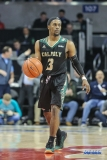 UNIVERSITY PARK, TX - DECEMBER 19: Cal Poly Mustangs guard Donovan Fields (3) brings the ball up court during the game between SMU and Cal Poly on December 19, 2017, at Moody Coliseum in Dallas, TX. (Photo by George Walker/Icon Sportswire)